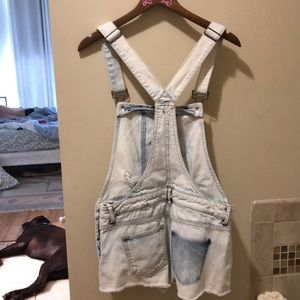 Zara acid wash cutoff overalls